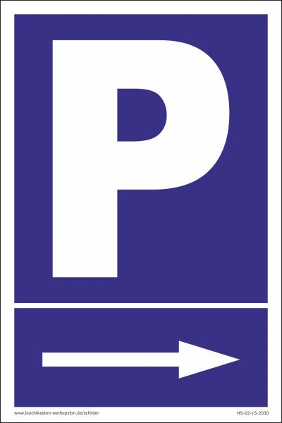 Hinweisschild Parkplatz Pfeil rechts