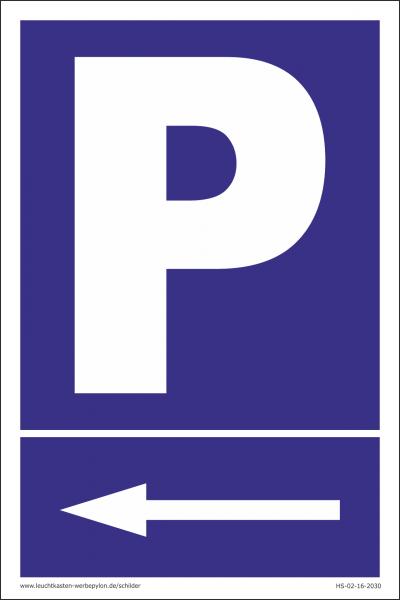 Hinweisschild Parkplatz Pfeil links