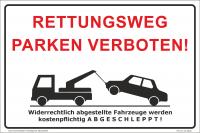Hinweisschild Parken verboten Rettungsweg