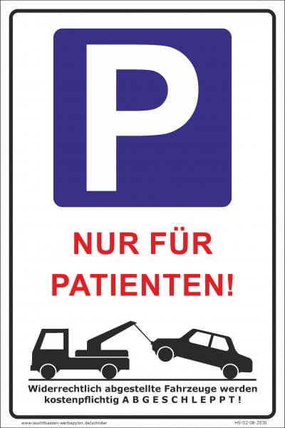 Hinweisschild Parkplatz Patienten